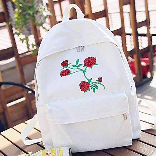 Flower Embroidery Girl Rose Travel Bag Canvas Shoulder Luoluoluo White Double Bag 7x4nqfw7P