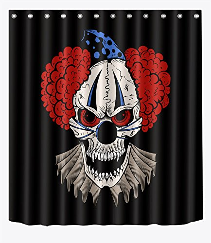 LB Scary Skull Clown Red Hair Shower Curtain Set for Bathrooms, Halloween Horror Decorations, 70x70 Inch Shower Window Curtain Waterproof Mold Free ()