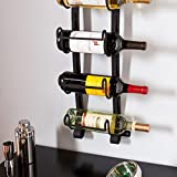 Southern Enterprises Ancona 5 Wine Bottle Wall Mount Rack, Natural Wrought Iron Finish