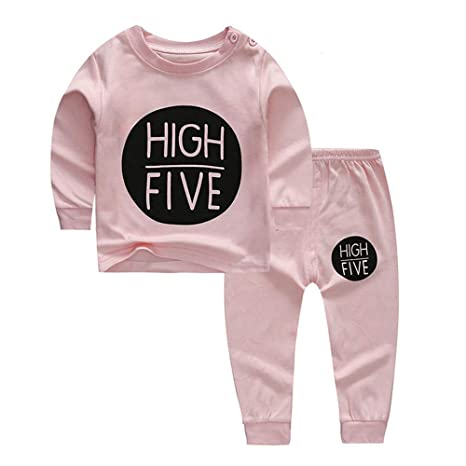 Baby Unisex Pajamas Set for Boy Girl,Cotton Cartoon Long Sleeve Shirt Top and Pant 2 Pieces Sleepsuit