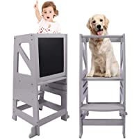 Kids Kitchen Step Stool, Dripex Wooden Learning Stool with Safety Rail & Chalkboard, Adjustable Counter Toddler Helper…
