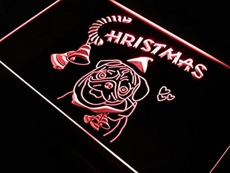 ADVPRO Cartel Luminoso s154-b Bull Dog Christmas Celebrate ...