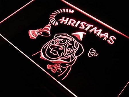 ADVPRO Cartel Luminoso s154-b Bull Dog Christmas Celebrate ...