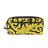 DEYYA Thai Art Tree Leave Pencil Case School Pen Bags Stationary Pouch Case PU Leather Large Capacity Makeup Cosmetic Bag