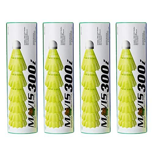 Yonex Mavis 300i Pack of 5 Nylon Shuttlecock Pack of 6 Green/Yellow  Pack of 4
