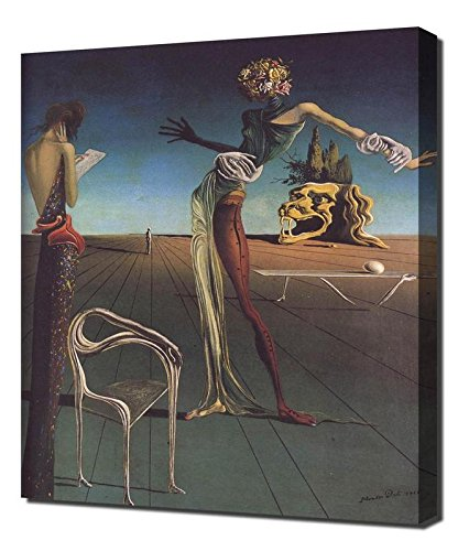 Salvador Dali Woman With Head Of Roses Framed Canvas Art Print Reproduction (Woman With A Head Of Roses Dali)