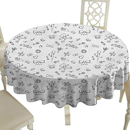 Cranekey Polyester Round Tablecloth 65 Inch Kids,Cute Baby Icons Doodle Style Various Toy Figures Newborn Toddler Scribble Collection Black White Great for,Family & More (Oval Style Rosette)