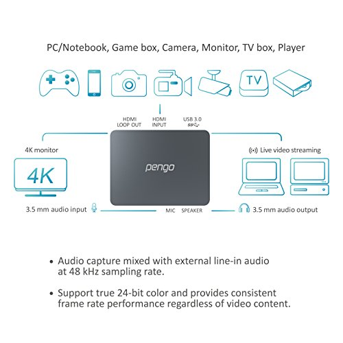 pengo 4K HDMI Grabber, Game Capture Card, UHD 4K Pass-Through, Works with Windows, Linux, Mac OSX, Plug & Play, Live Stream for PS4, Xbox One, Switch [Bundle with] USB-C to USB-A/Female Cable by pengo (Image #5)