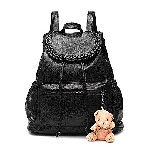 Bolso mochila mujer mochila piel faux estilo simple Mochilas tipo casual bolsos de viaje mujer Negro Bolsos Mochila Negro Bolsos Mochila