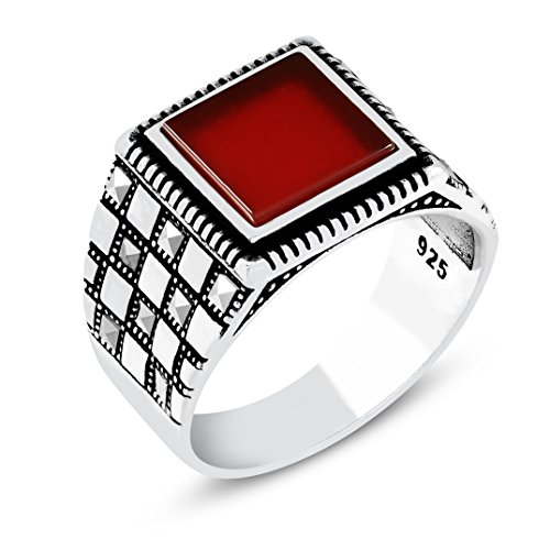 Chimoda Men's Ring Turkish Handmade in 925 Sterling Silver with Red Agate and Marcasite Stones (9) - Design Agate