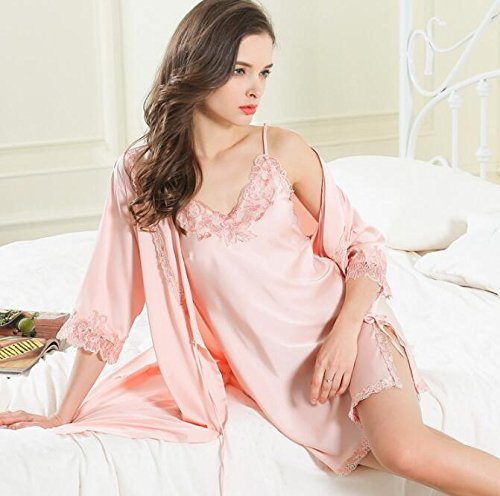 seta fasce pigiami Camicie di notte da da donna pizzo YiNan di Nuovi sexy Pink notte pigiami da HOTw0qt