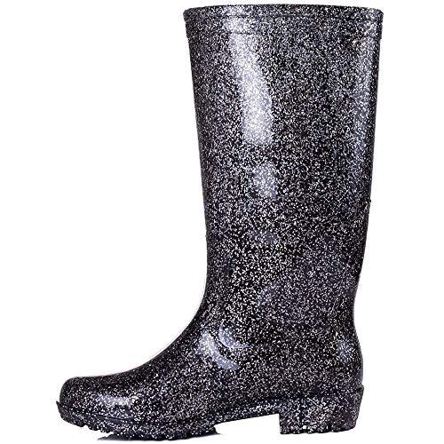 Onlineshoe Women's Wellie Wellington Festival Rain Boots Black Glitter