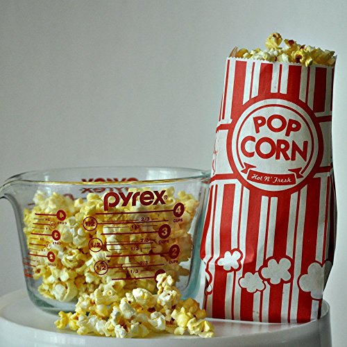 URPARTY Paper Popcorn Bags, 1 oz, Red & White, 100 (Party Popcorn)