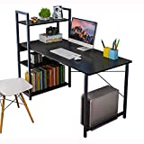 4NM Computer Desk and Bookshelf, Modern Style Workstation with Bookshelves Wood Grain Office Desk PC Laptop Table Workstation (120x55x110cm (LxWxH), Black)