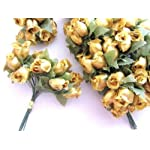 144-Poly-Silk-Rose-Flower-4-StemleaftrimWedding-BouquetArtificial-H415-Gold-US-Seller-Ship-Fast