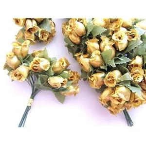 "144 Poly Silk Rose Flower 4"" Stem/leaf/trim/Wedding Bouquet/Artificial H415-Gold US Seller Ship Fast 83"