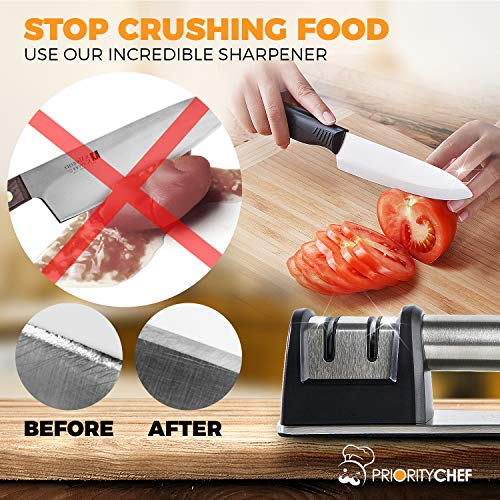 PriorityChef Knife Sharpener for Straight and Serrated Knives, 2-Stage Diamond Coated Wheel System, Sharpens Dull Knives Quickly, Safe and Easy to Use by Priority Chef (Image #4)