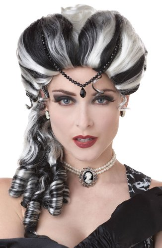 California Costumes Victorian with Side Curls Wig, Black/White, One Size