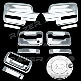 Razer Auto Triple Chrome Plated Mirror Cover (Does Not Fit on Towing Mirror), 2 Door Handle Cover Without Keypad And without Passenger Keyhole, Tailgate Handle, Gas Door Cover for 09-14 Ford F150