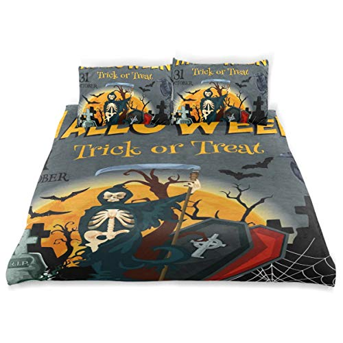 VANKINE Halloween Duvet Cover Set Halloween Trick Treat Party Poster Invitation Design Bedding Decoration Queen/Full Size 3 PC Sets 1 Duvets Covers with 2 Pillowcase Microfiber Bedding Set Bedroom