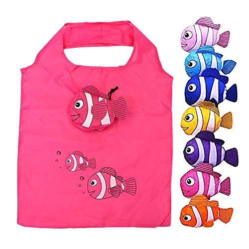 KisSealed 10 Pcs Fish Reusable Shopping Bags, Colorful Foldable Washable Eco Tote Bag(Random Color Sent) ()