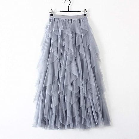 DAHDXD Falda de Tul Mujer Falda Larga Maxi Primavera Verano Corea ...