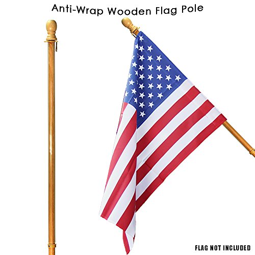 "Toland Home Garden Anti-Wrap Wooden Flag Pole 60"" Outdoor Ho"