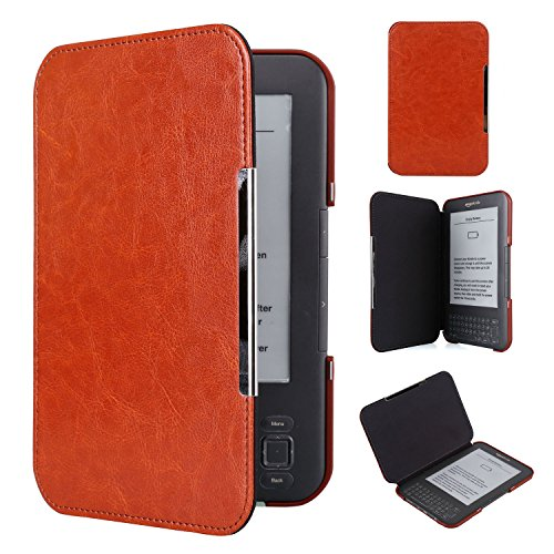 Kindle Keyboard PU Leather Case  Cover Book Style for Amazon Kindle 3rd Generation (2010) with Keyboard & 6'' Display Brown by Boimoe