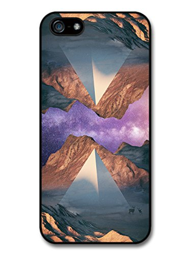 Two Pyramids Reflecting Nature Galaxy Grunge Hipster Design with Deer case for iPhone 5 5S