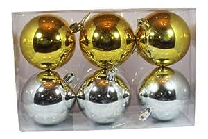 6pk 80mm Shiny Silver and Gold Ball Shatterproof Christmas Ball Ornaments