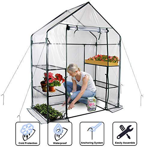 "Gosunny Walk in Greenhouse with Clear Cover - 3 Tiers 6 Shelves - Herb and Flower Garden Green House 56"" W x 29"" D x 77"" H (56"" W x 29"" D x 77"" H)"