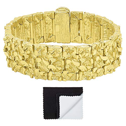 (The Bling Factory Thick 22.5mm 14k Gold Plated Large Chunky Nugget Textured Bracelet, 8 )