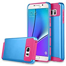 Note 5 Case, Galaxy Note 5 Case, Asstar Hybrid Dual Layer Plastic Hard Shell Flexible TPU Protective Shock Absorbing Impact Defender Slim Case Cover For Samsung Galaxy Note 5 (Navy rose)