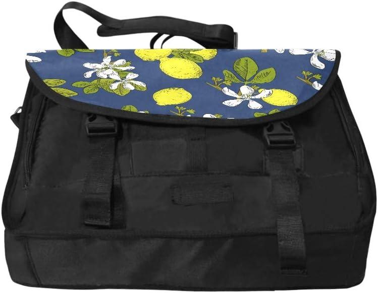 Handbags Satchel Vector Drawn Citrus Seamless On Blue Backg Multi-Functional Shoulder Bag Fit for 15 Inch Computer Notebook MacBook