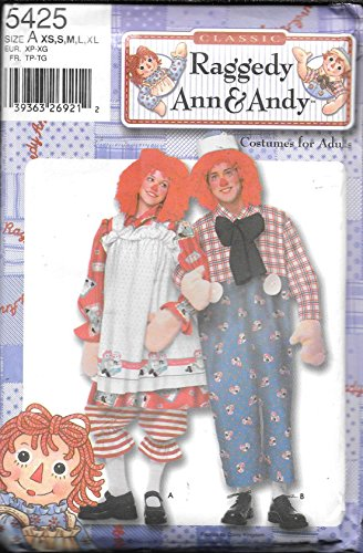 Raggedy Ann & Andy Adult Costume Pattern 5425 Size XS, S, M, L, XL - Raggedy Ann Costume Pattern