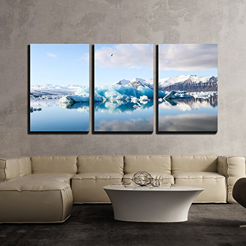 Glacier and Calm Water Surface x3 Panels