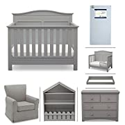 Serta Barrett 7-Piece Nursery Furniture Set - Convertible Crib, Toddler Rail, Dresser, Changing Top, Bookcase, Crib Mattress, Glider - Grey