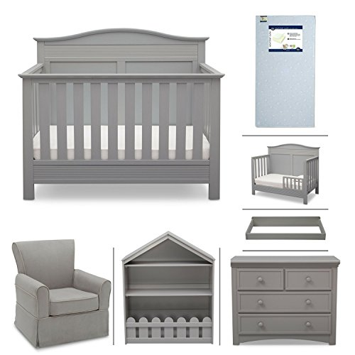 Serta Barrett 7-Piece Nursery Furniture Set - Convertible Crib, Toddler Rail, Dresser, Changing Top, Bookcase, Crib Mattress, Glider - Grey from Delta Children