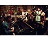 Ray Jamie Foxx as Ray Charles Playing Piano in Blue Button Down with the Raelettes and Band Recording 8 x 10 inch photo