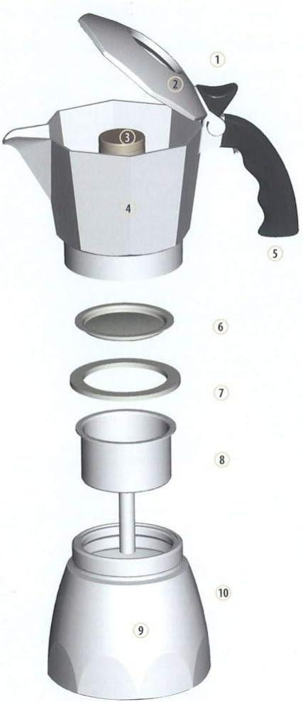 TrAdE shop Traesio® Kit Set repuesto rodillos Moka Cafetera Filtro Junta embudo tazas – 2 tazas: Amazon.es: Hogar