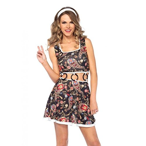 Women's Groovy GoGo 70s Girl Paisley Dress Outfit Adult Halloween Costume (Gogo Outfit)
