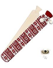 LACKINGONE Lange warmwaterkruik met zacht overtrek, buisvormige warmwaterkruik voor schouder en nek, met gebreide overtrek voor schouders, nek, buik, benen, 72 x 12 cm (rood)
