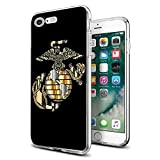 Cocomong Cool Marine Corps USMC for iPhone 7 Case iPhone 8 Case Clear Design Protective Phone Cover Gifts for Men Girls Women Ultra Thin Shockproof Bumper Anti-Drop PC Frame for 4.7' Designer