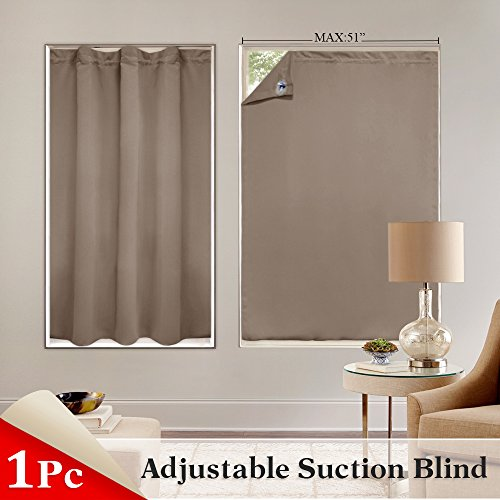 (PONY DANCE Baby Travel Curtains - 51 in Wide by 78 Long, Mocha Blackout Blinds with Suction Cups Shade Portable Window Cover Blind Drapes for French Door Roof Windows, 1 Piece)