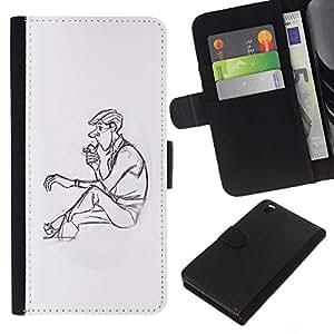 iBinBang / Flip Funda de Cuero Case Cover - Hombre Pipe Perfil Humo de Lonely Arte Dibujo - HTC DESIRE 816