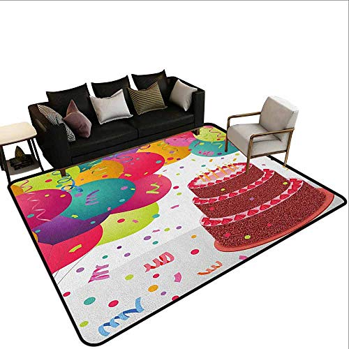 Price comparison product image Superior Hall Carpet Birthday, Strawberry Triplex Cake with Candles Ribbons Balloons Newborn Celebration Theme,  Multicolor
