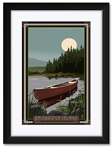 Bainbridge Island Washington Canoe In Moonlight Framed & Matted Art Print by Mike Rangner. Print Size: 12