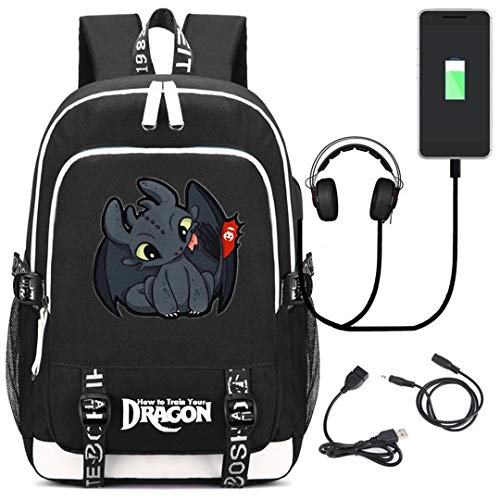AUGYUESS How to Train Your Dragon School Bag Daypack Bookbag Laptop Bag Backpack with USB Charging -