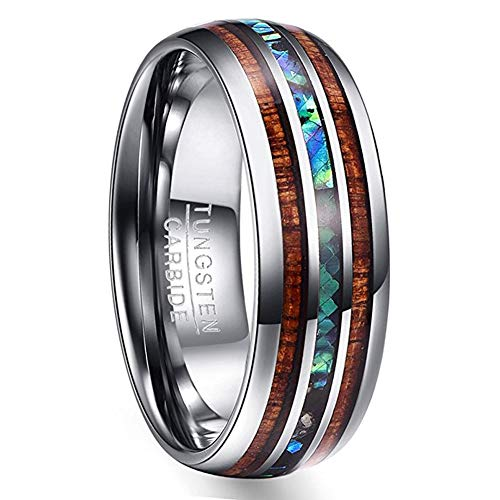 VAKKI Women's 8mm Domed Tungsten Wedding Band with Abalone Shell and Koa Wood Inlay Size 4.5