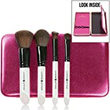 NEW Small Travel Makeup Brush Set & Makeup Brush Case With...